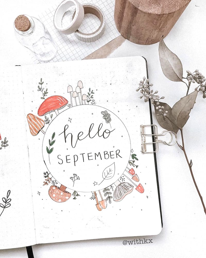 Mushroom hello september bullet journal