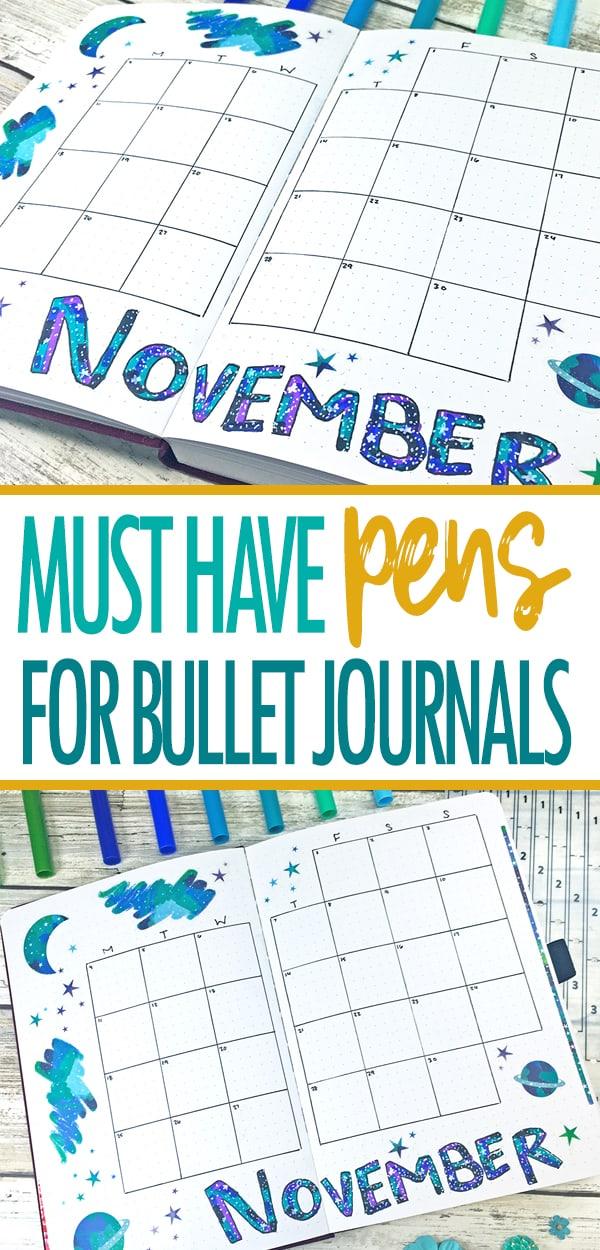 Best pens for bullet journals blog post