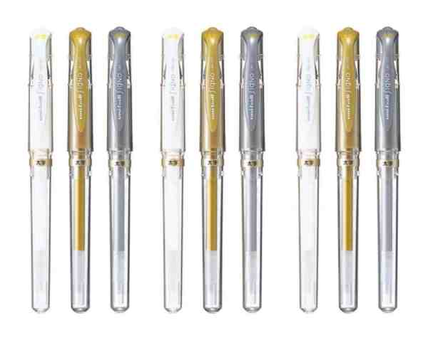 uniball signo gel pens bullet journal gold silver and white