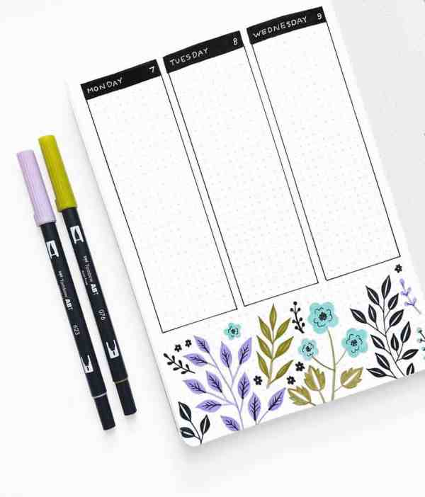 Archer and Olive Bullet Journal page idea