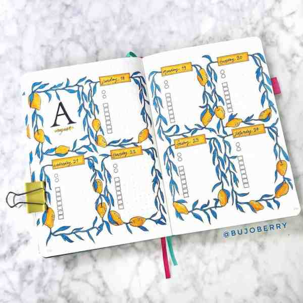 Lemon August weekly layout ideas