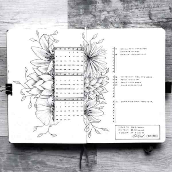 Floral bullet journaling weekly spreads