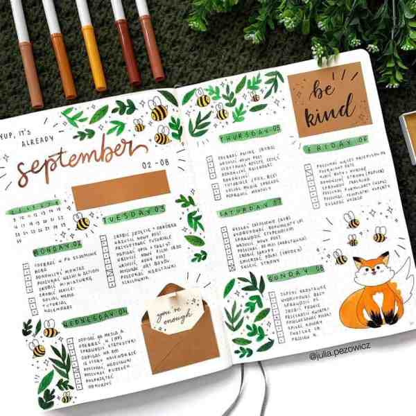 Fox and bees bullet journal account