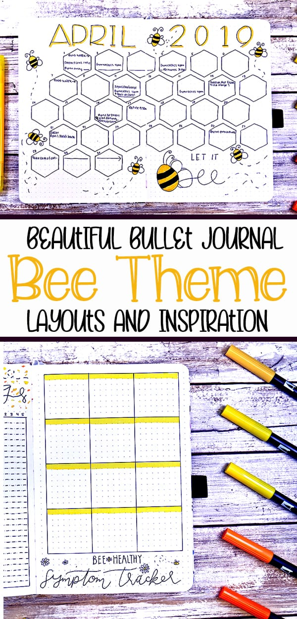 Bee theme layouts and inspiration bullet journal