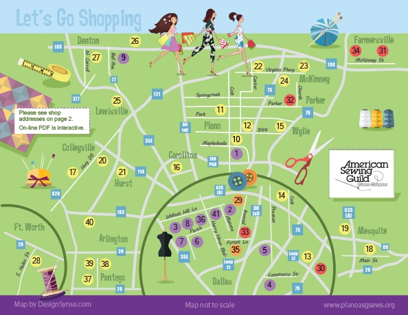 Dallas Fort Worth Area Fabric and Fiber Shopping Map Plano ASG