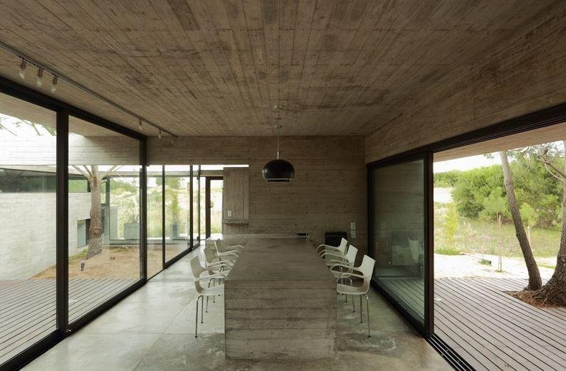 Casa de un piso forma de L  Planos de Arquitectura