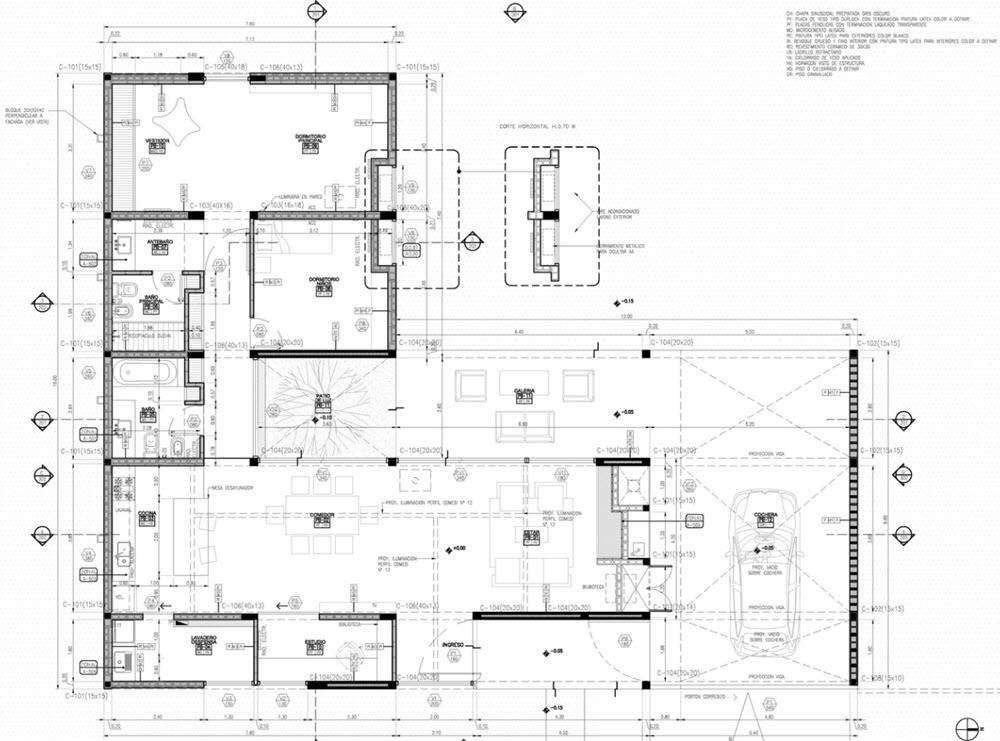Casa de un piso construida en concreto  Planos de