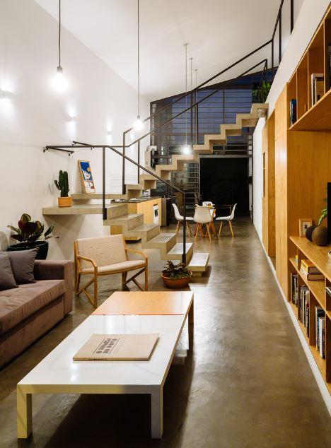 Diseo de moderna casa de dos pisos y dos dormitorios