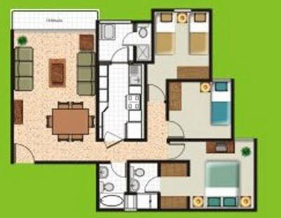 Planos de dos mini departamento en un area de 60m2  Planos de Casas