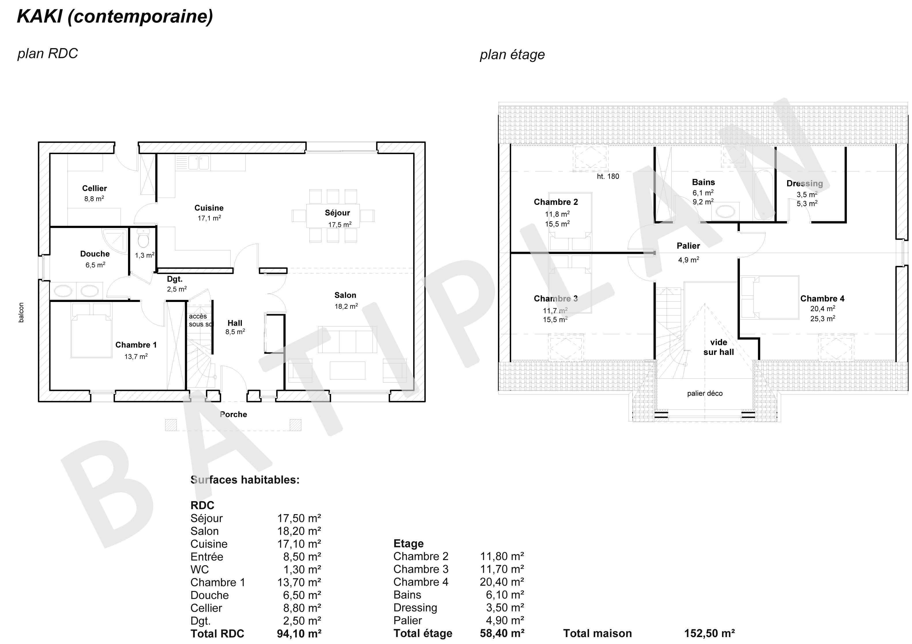 Plan Maison Kaki Contemporaine