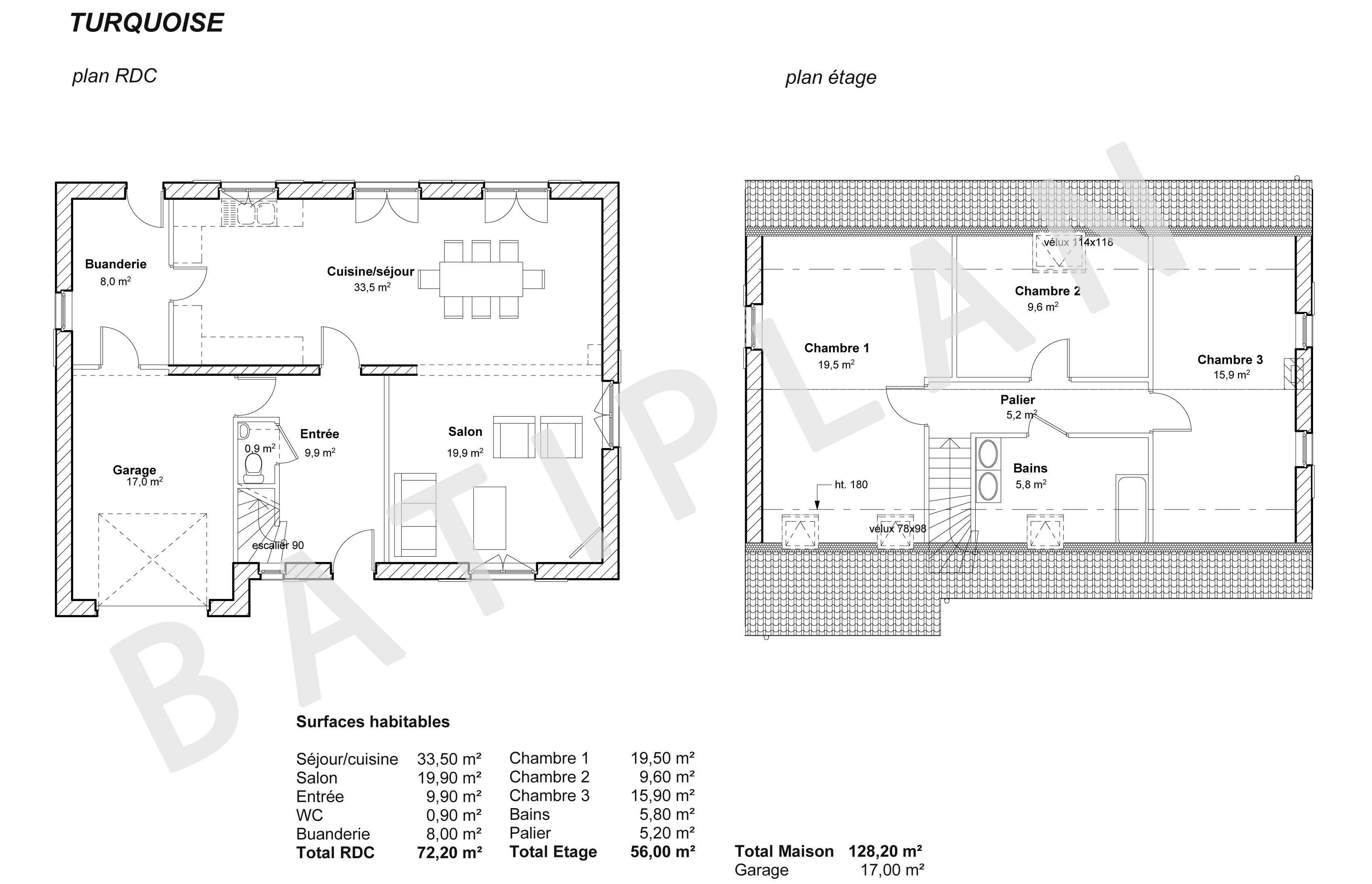 Plan Maison Turquoise