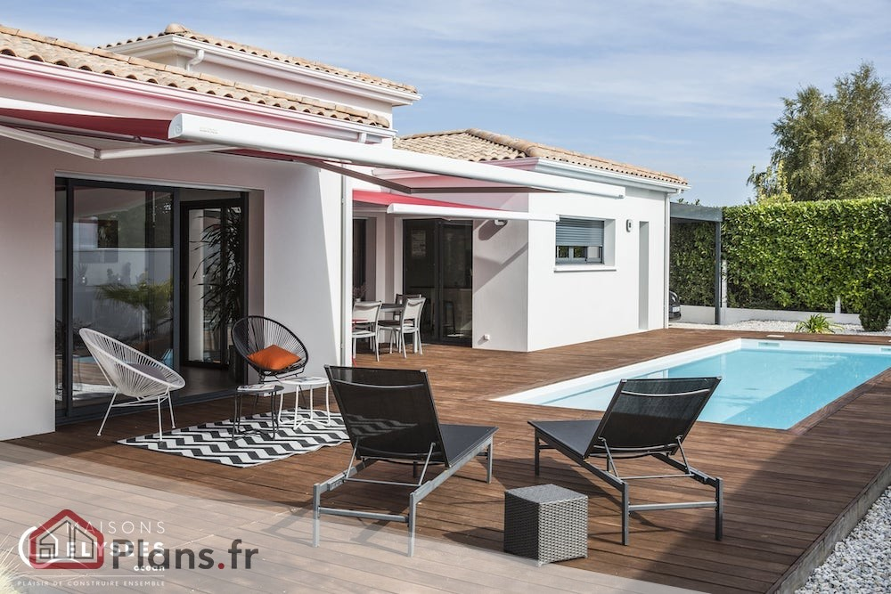 plan maison villa balneaire moderne
