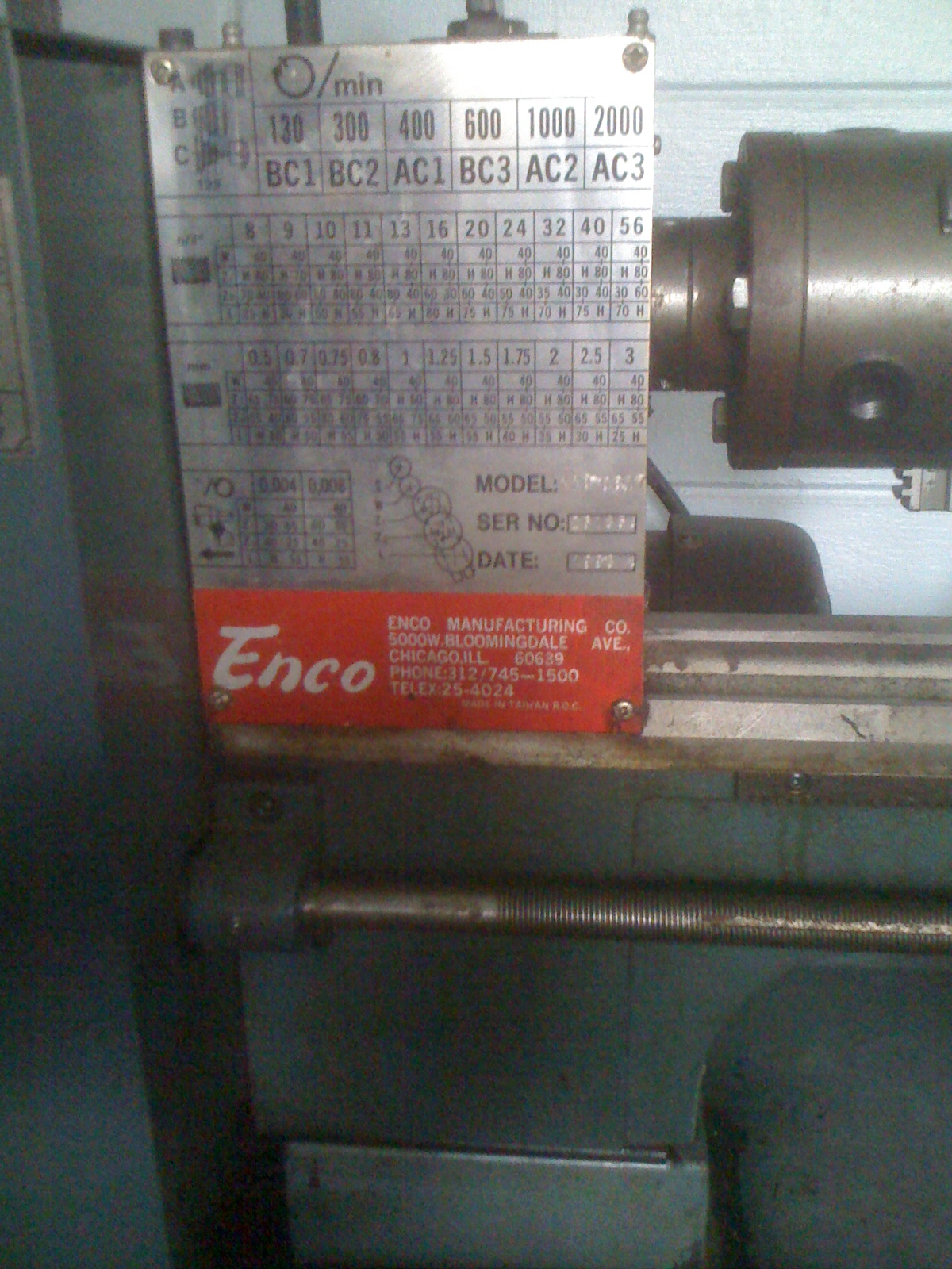 hight resolution of this lathe didn t come with a manual and i wasn t able to find one on the internet i called enco and they sent me a photo copy i scanned it to pdf