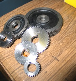 these are the gears i got with it they look unused unfortunately after studying the threading charts i am missing a couple  [ 2592 x 1944 Pixel ]