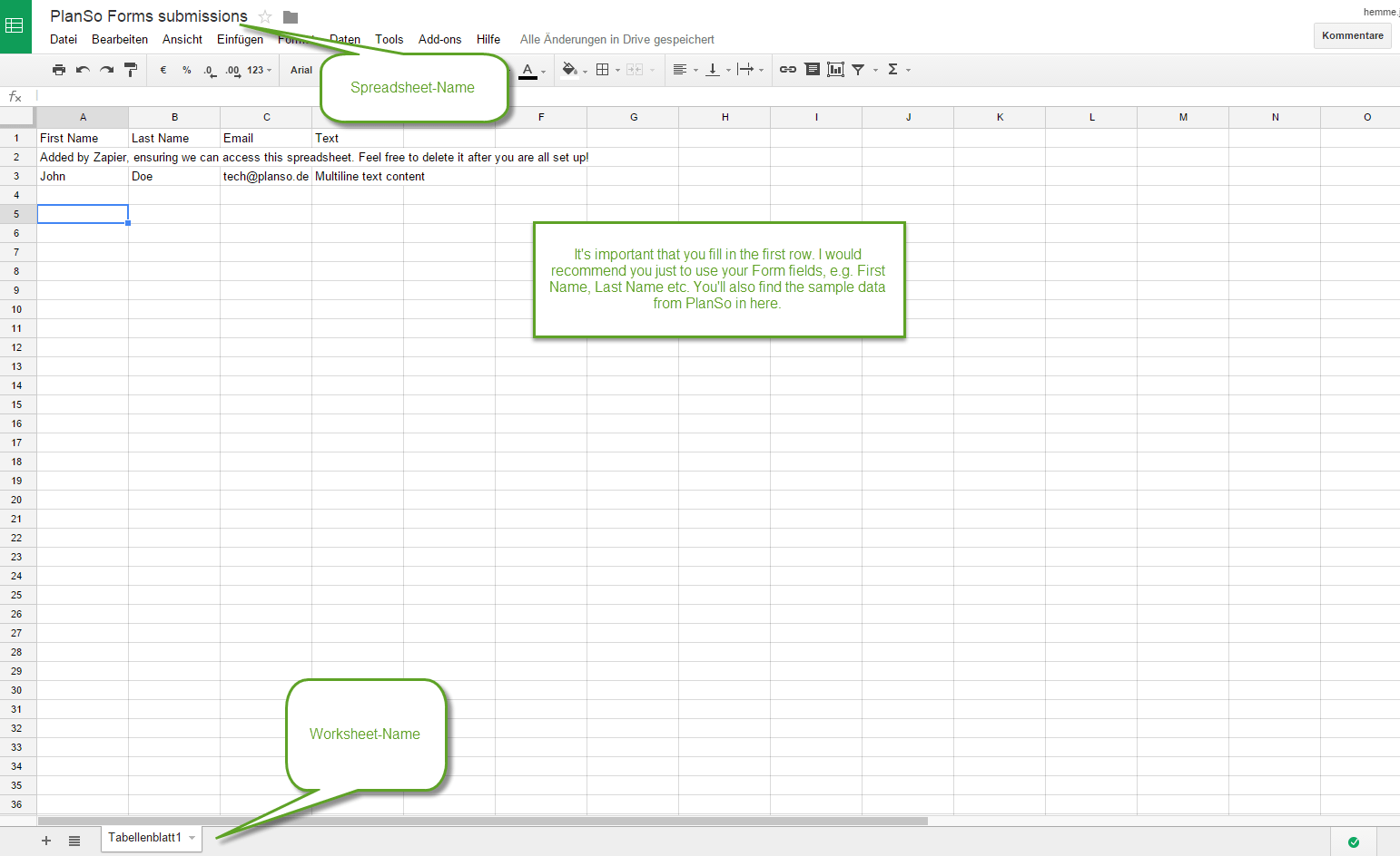 How To Store Planso Forms Submissions In Sheets Or