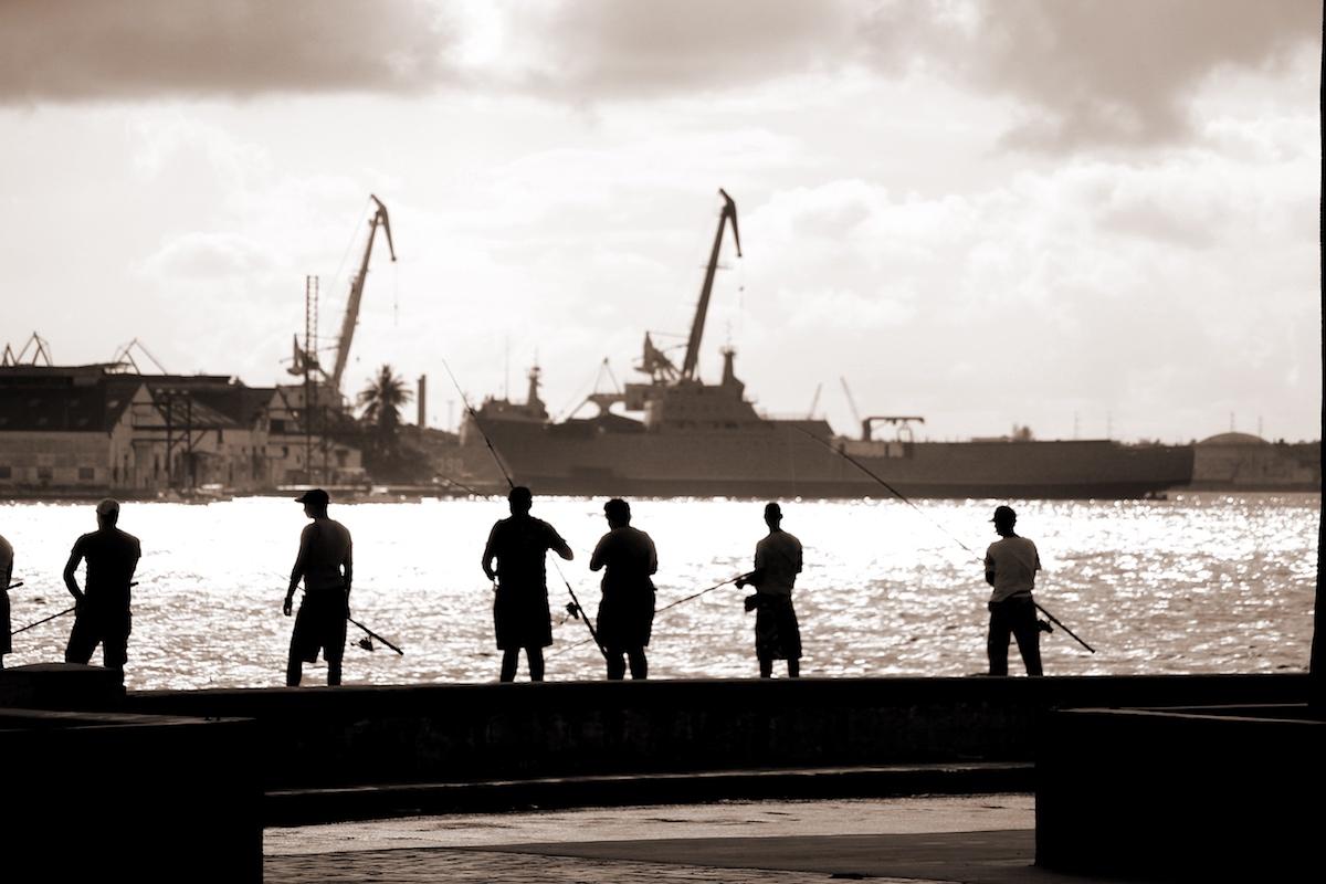 Havana, Cuba - Malecon Fishing