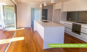 Plantation Bamboo Flooring Products New Zealand - Compressed bamboo flooring shown in coffee colour-way installed in kitchen