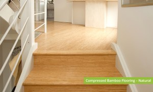 Plantation Bamboo Flooring Products New Zealand - Compressed bamboo flooring shown in natural colour-way installed in staircase