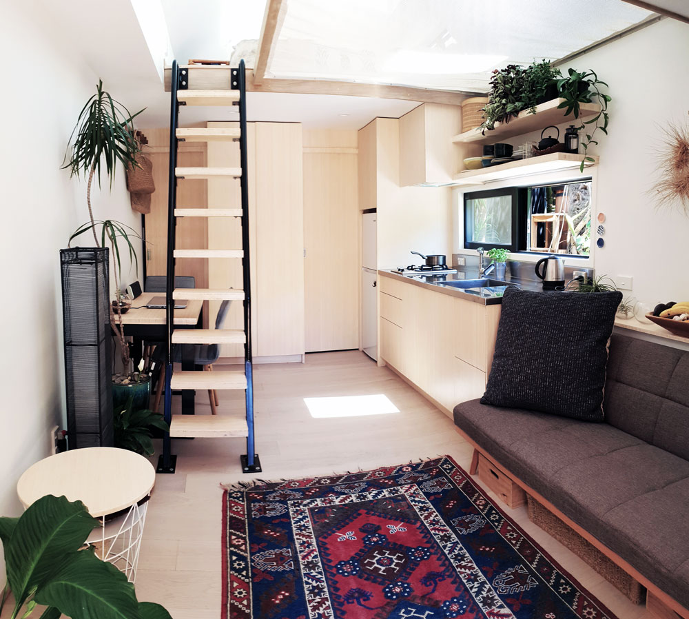living room in bamboo tiny house
