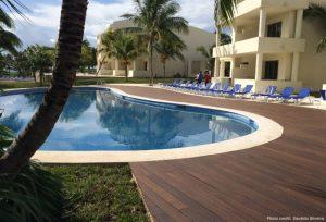 Bamboo X-treme decking poolside