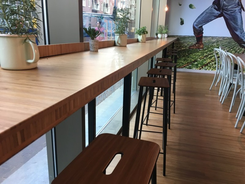 Cafe joinery in NZ made of bamboo panels