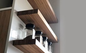 Floating bamboo shelves in kitchen