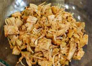 Jackfruit mixed with seasoning.