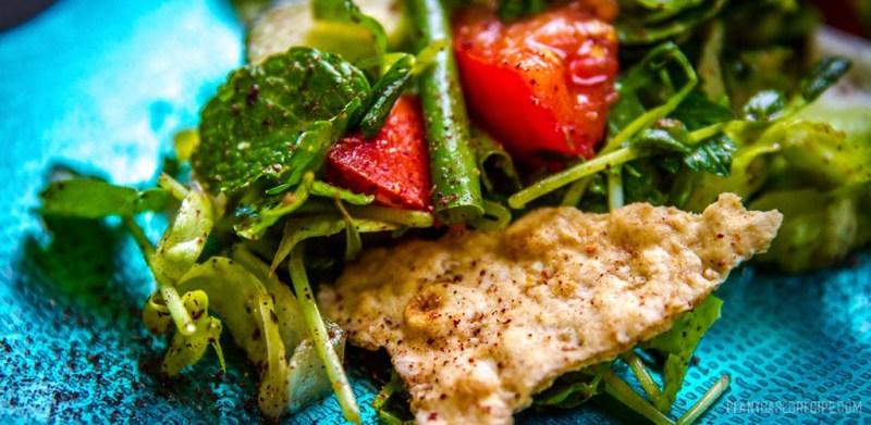 Fattoush salad on a plate