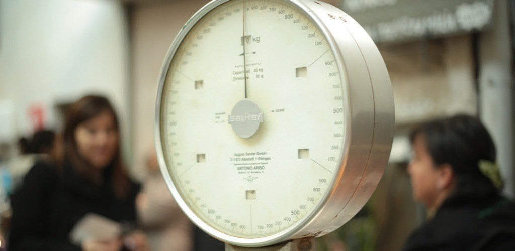 A scale in a market for weighing produce