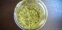 Stevia leaves in a jar.