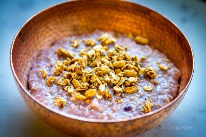 Blueberry Vanilla Oatmeal in a bowl - closeup
