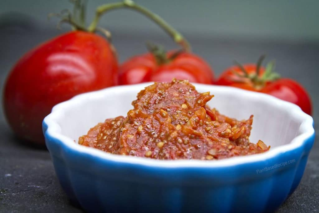 Tomato jam with chia seeds recipe