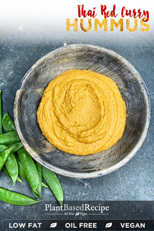 Creamy red curry hummus - oil free, vegan, and low fat recipe.