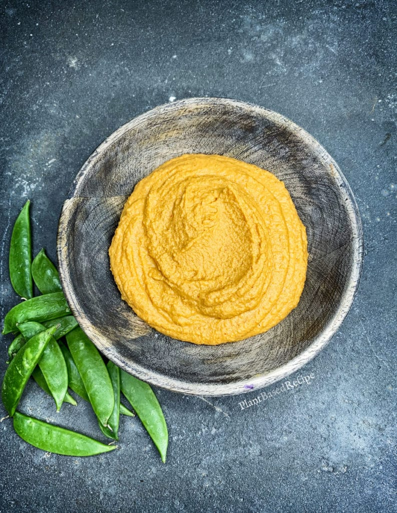 Red curry hummus in a bowl - vegan low fat recipe