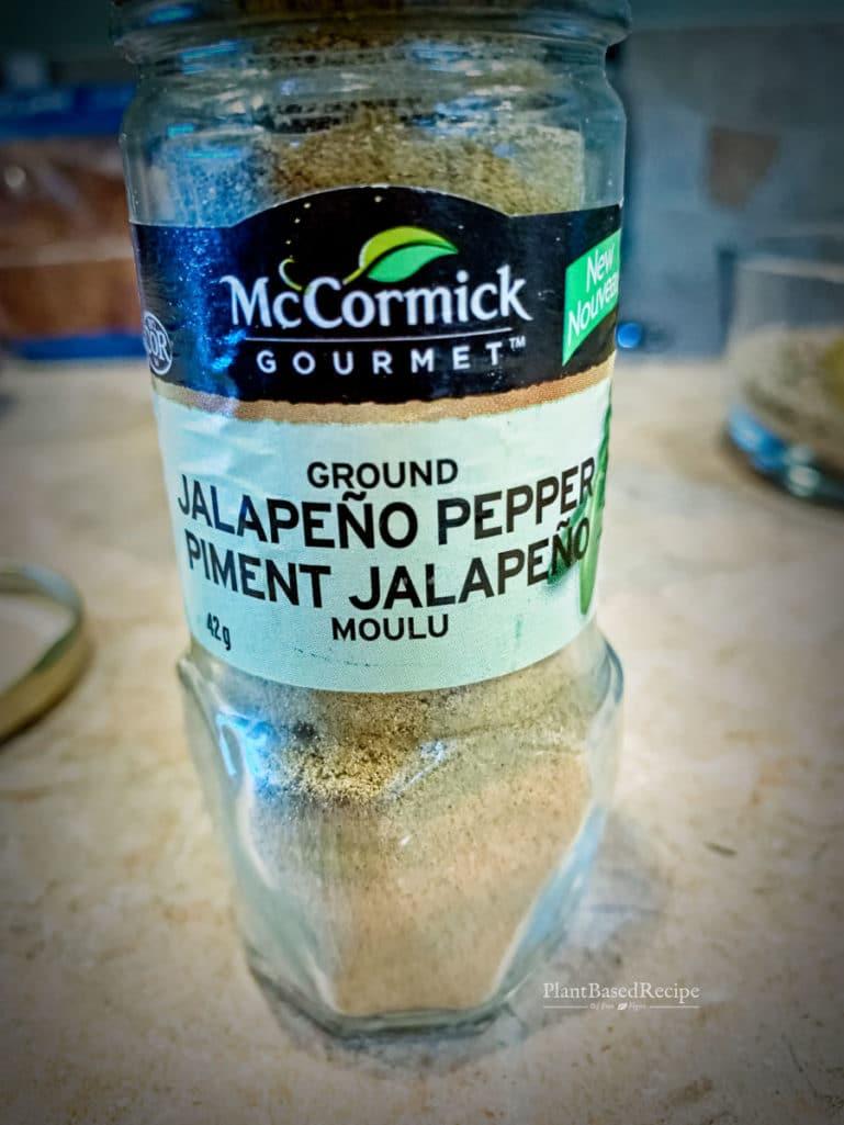 Jalapeno pepper powder in a spice bottle.
