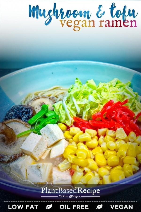 Vegan ramen with mushrooms and tofu