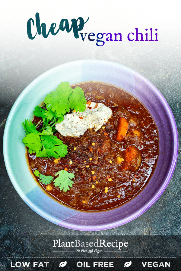 The completely plant based vegan chili recipe is easy to make, and is flexible too. It's hearty and filling, low fat, oil free and it's also cheap to make.
