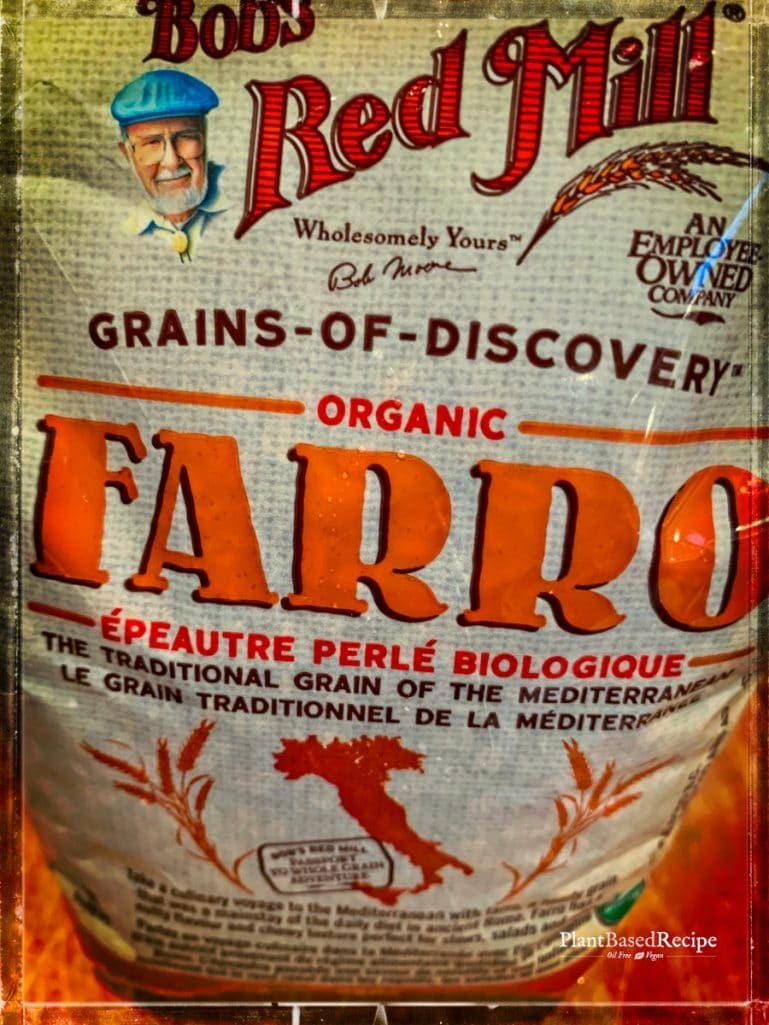 Package of farro grain.