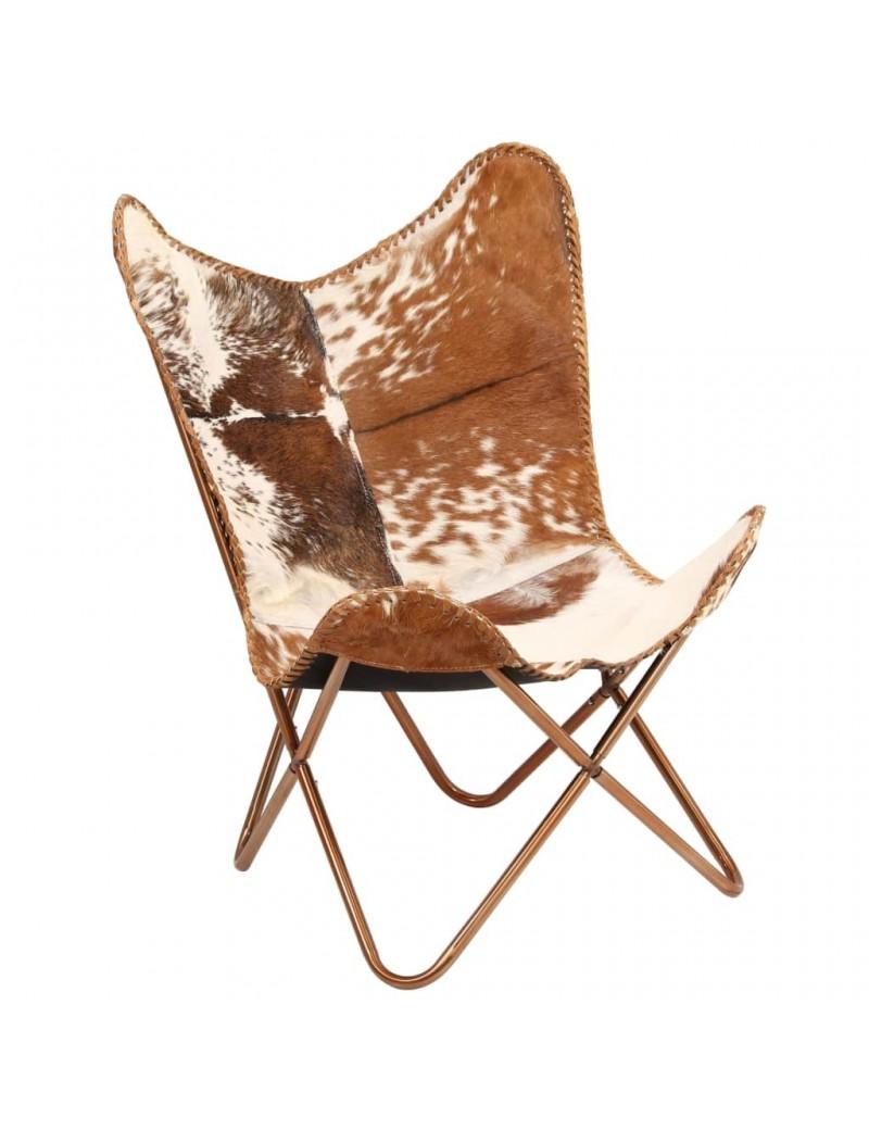 fauteuil papillon en cuir veritable de chevre marron blanc