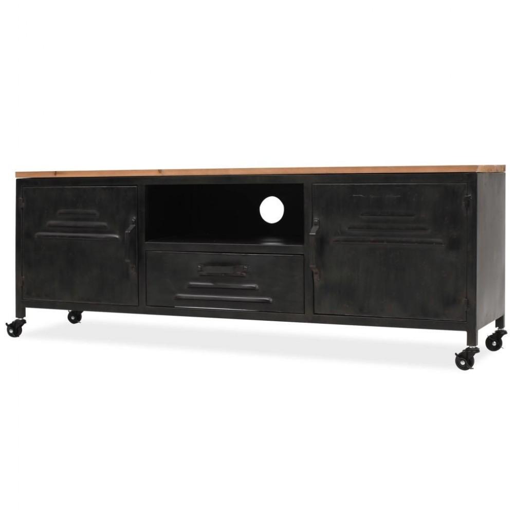 meuble tv casier industriel a roulettes 120x30x43cm achat sur plante ta deco
