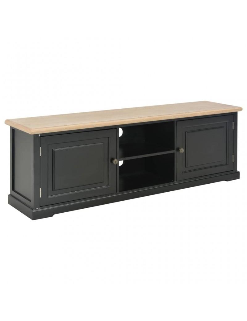 meuble tv noir en bois avec dessus en bois de paulownia 120x30x40cm