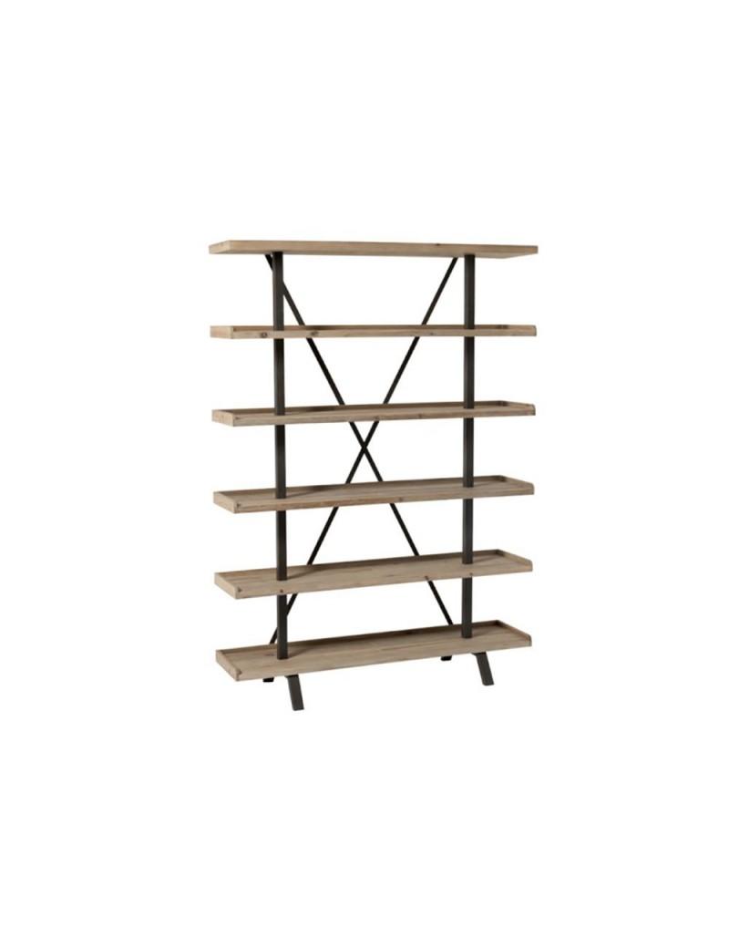 etagere 6 planches bois metal naturel