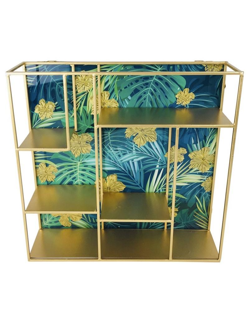 etagere murale doree 40cm fond bleu