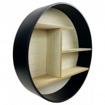 etagere murale ronde contour noir 45cm
