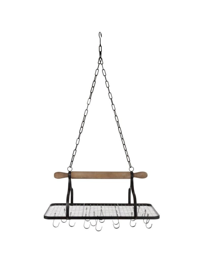 etagere suspendue cuisine avec crochets metal bois noir