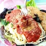 Pasta Marinara with Garbanzo Burgers Vegan Plant-Based Recipe Planted365.com