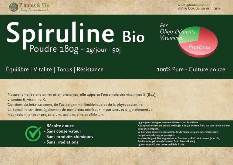 Spiruline Bio Plantes&Vie 180 grammes