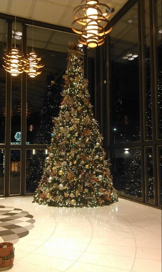 giant Christmas tree in lobby