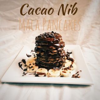 Cacao Nib Maca Pancakes With Chocolate Tahini Sauce