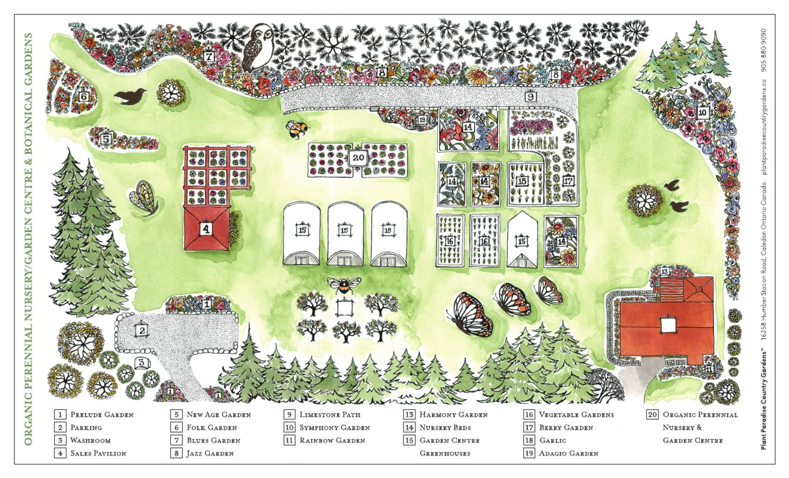 Map of Botanical Gardens at Plant Paradise Country Gardens